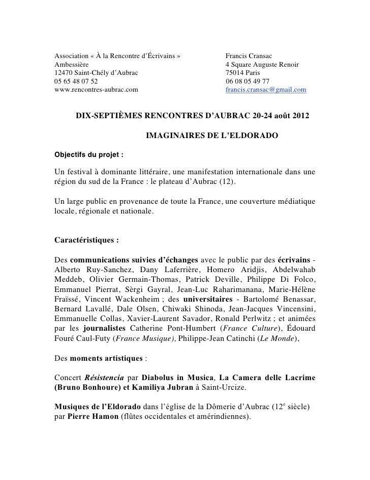 Association « À la Rencontre d'Écrivains »        Francis CransacAmbessière                                        4 Squar...