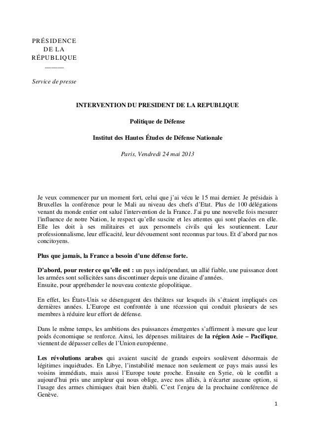 1PRÉSIDENCEDE LARÉPUBLIQUE______Service de presseINTERVENTION DU PRESIDENT DE LA REPUBLIQUEPolitique de DéfenseInstitut de...