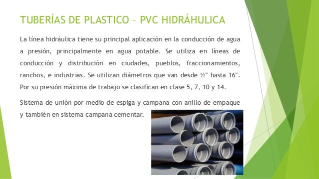 Tuberias for Tuberia plastico agua potable