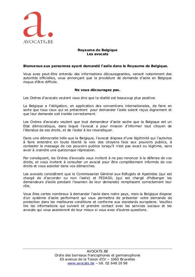 AVOCATS.BE Ordre des barreaux francophones et germanophone 65 avenue de la Toison d'Or – 1060 Bruxelles www.avocats.be – t...