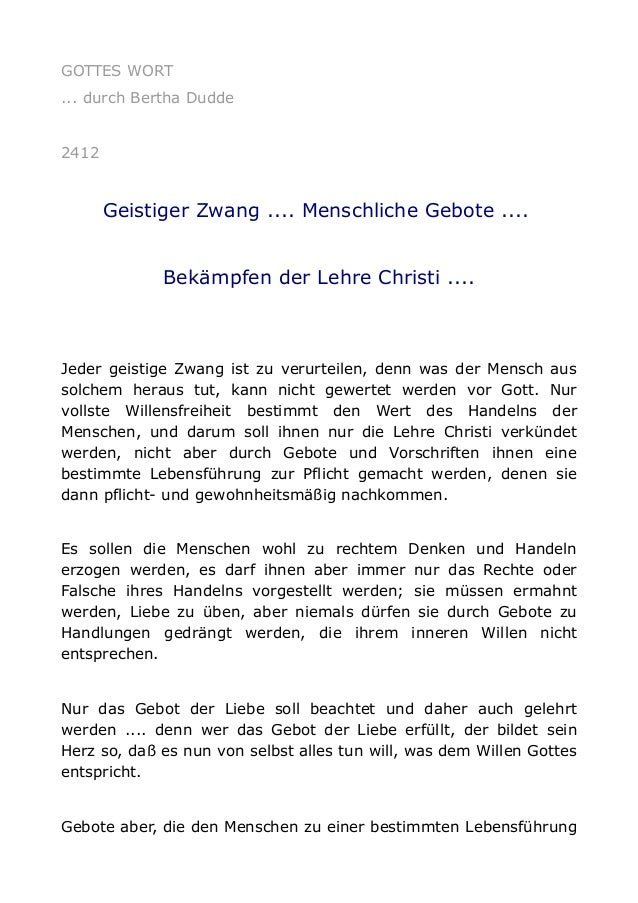 GOTTES WORT ... durch Bertha Dudde 2412 Geistiger Zwang .... Menschliche Gebote .... Bekämpfen der Lehre Christi .... Jede...