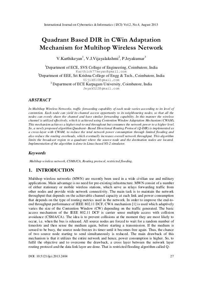 International Journal on Cybernetics & Informatics ( IJCI) Vol.2, No.4, August 2013 DOI: 10.5121/ijci.2013.2404 27 Quadran...