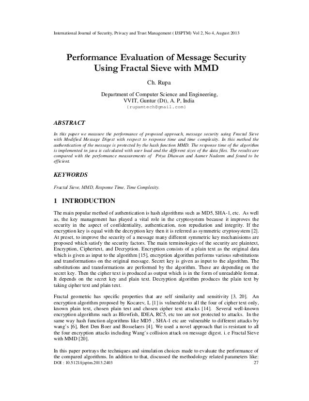Performance Evaluation of Message Security Using Fractal Sieve with MMD