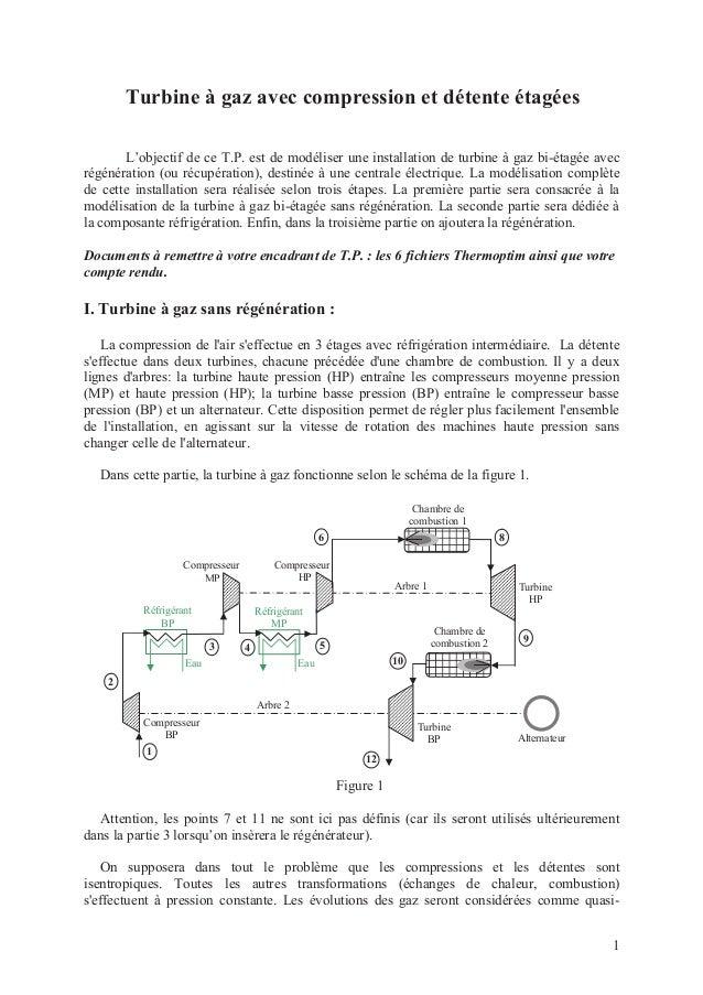 1  Turbine à gaz avec compression et détente étagées  L'objectif de ce T.P. est de modéliser une installation de turbine à...