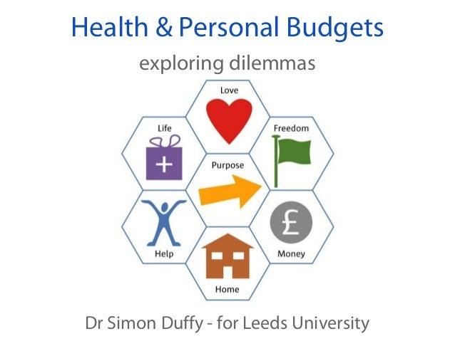 Health & Personal Budgets        exploring dilemmas Dr Simon Duffy - for Leeds University