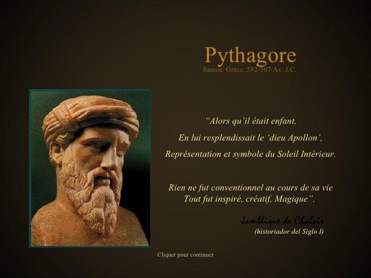 """Pythagore """" Alors qu'il était enfant, En lui resplendissait le 'dieu Apollon', Représentation et symbole du Soleil Intérie..."""