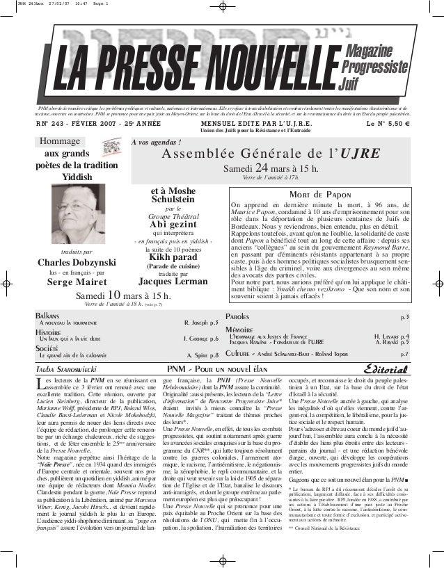PNM 243bon  27/02/07  10:47  Page 1  LA PRESSE NOUVELLE  Magazine Progressiste Juif  PNM aborde de manière critique les pr...