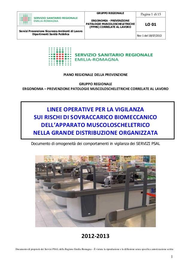 Pagina 1 di 15 LO 01 Servizi Prevenzione Sicurezza Ambienti di Lavoro Dipartimenti Sanità Pubblica GRUPPO REGIONALE ERGONO...