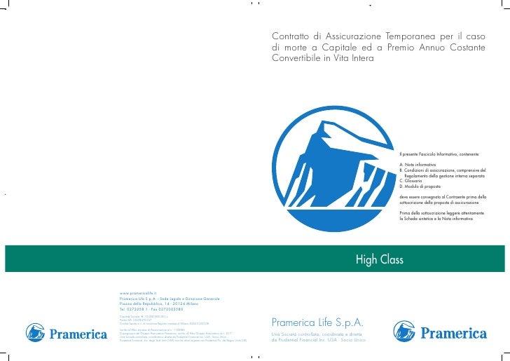 Fascicolo Informativo di High Class di Pramerica Life SpA per AEC Underwriting