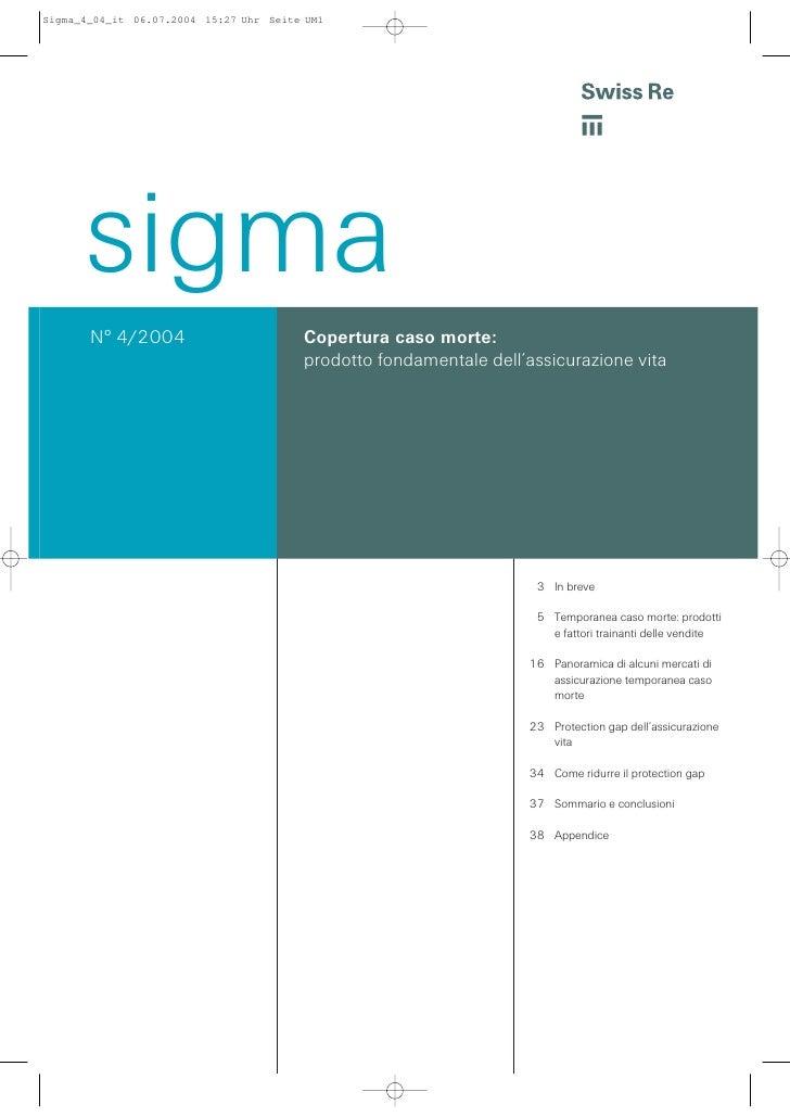 """Copertura Caso Morte e stima del """"Protection GAP"""" - Sigma N° 4/2004 Swiss Re"""