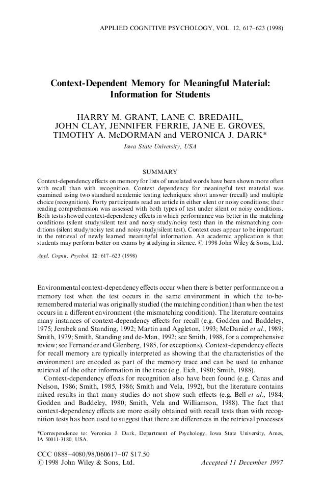 Context-Dependent Memory for Meaningful Material: Information for Students HARRY M. GRANT, LANE C. BREDAHL, JOHN CLAY, JEN...