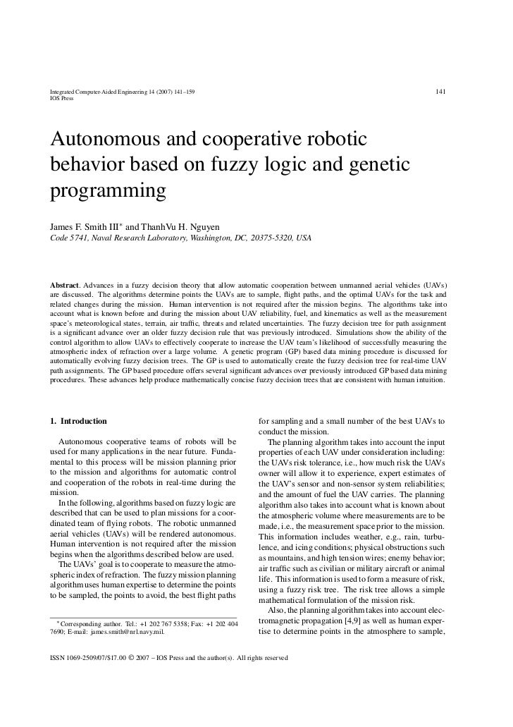 Autonomous and cooperative robotic behavior based on fuzzy logic and genetic programming