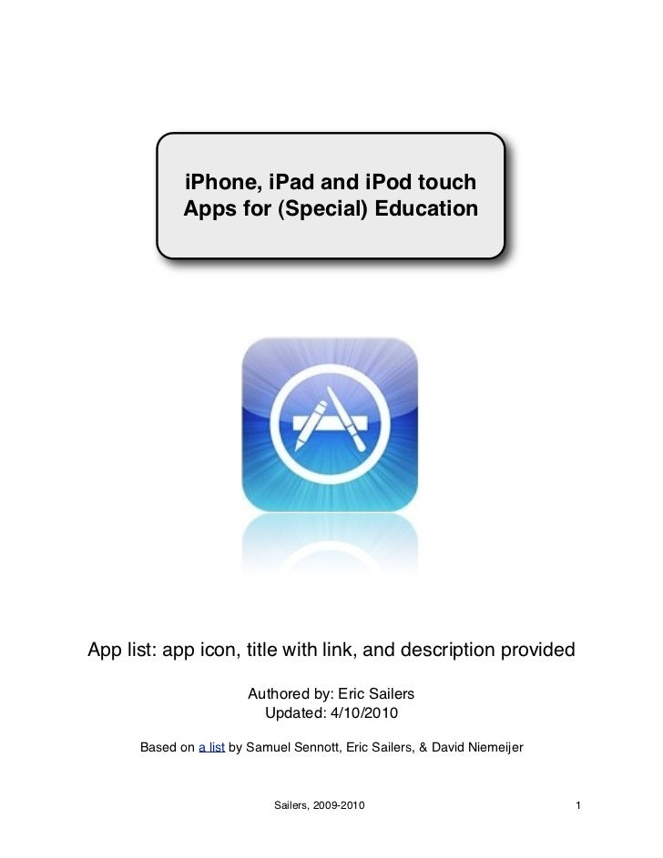 iPhone, iPad and iPod touch             Apps for (Special) EducationApp list: app icon, title with link, and description p...