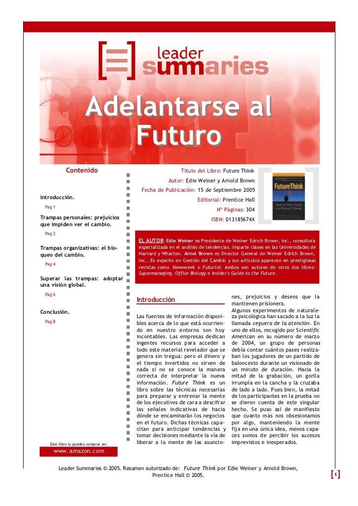 Adelantarse al                         Futuro           Contenido                                      Título del Libro: F...