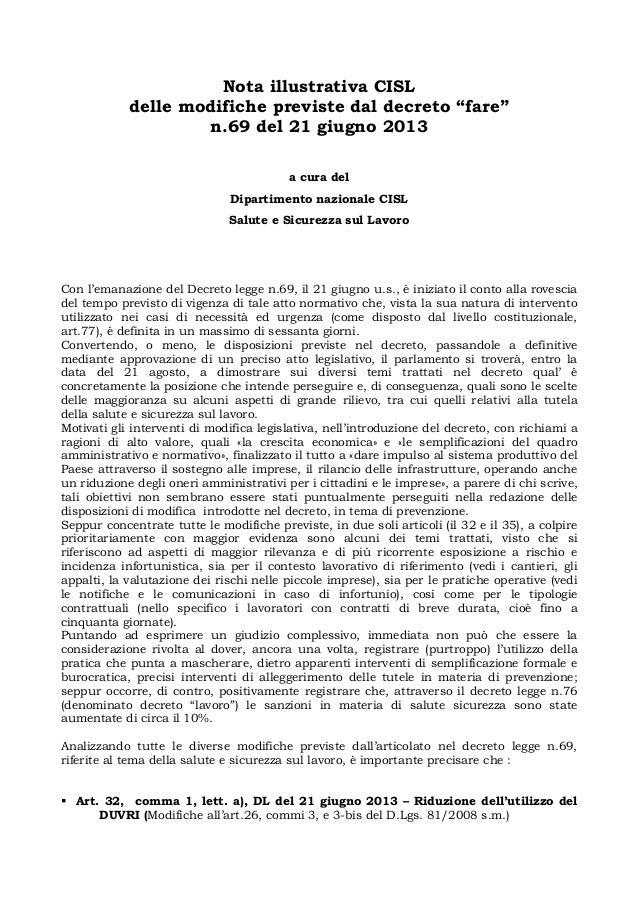 """Nota illustrativa CISL delle modifiche previste dal decreto """"fare"""" n.69 del 21 giugno 2013 a cura del Dipartimento naziona..."""