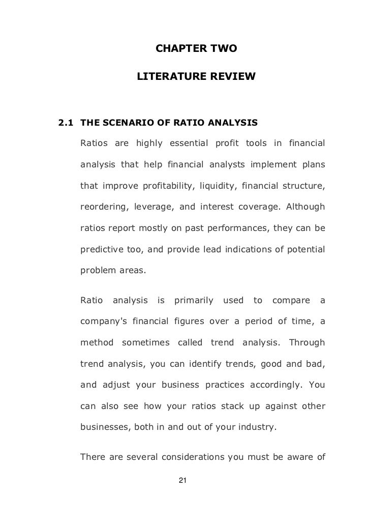 literature review on financial ratio analysis