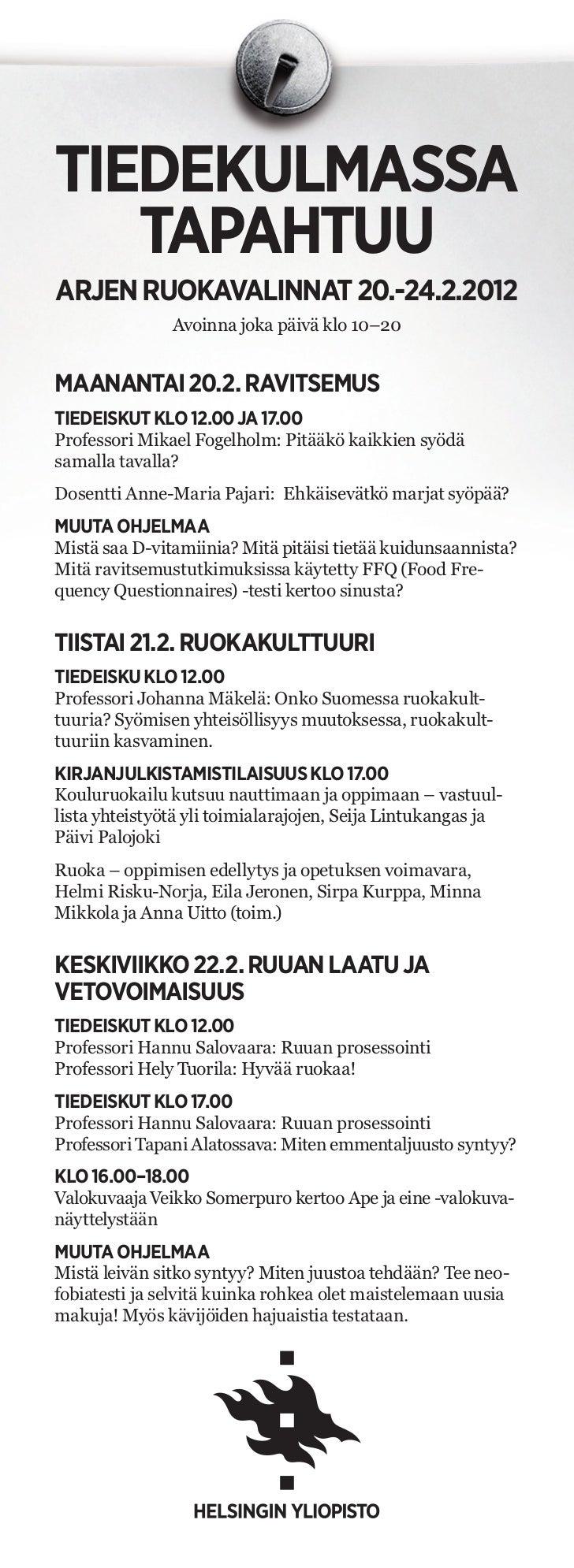 Arjen ruokavalinnat - Ohjelma | Helsingin yliopisto