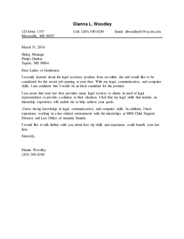 paralegal cover letter sample