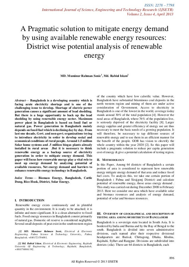 A Pragmatic solution to mitigate energy demand by using available renewable Energy resources : District wise Potential analysis of renewable energy248 296-1-pb