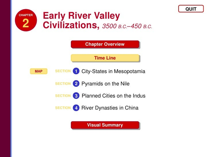 QUIT CHAPTER                 Early River Valley  2              Civilizations, 3500 B.C.–450 B.C.                         ...