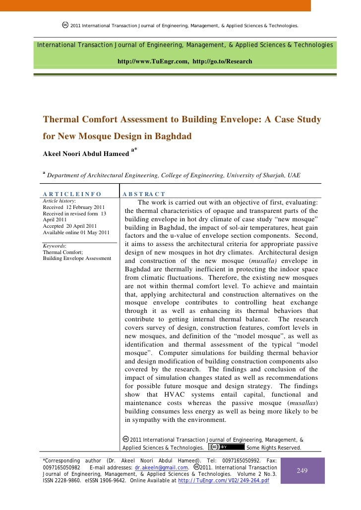 Thermal Comfort Assessment to Building Envelope: A Case Study for New Mosque Design in Baghdad