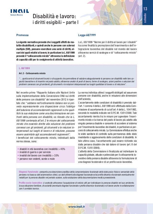 scheda 13 Disabilità e lavoro: i diritti esigibili – parte I Diagnosi funzionale: comporta una descrizione analitica della...