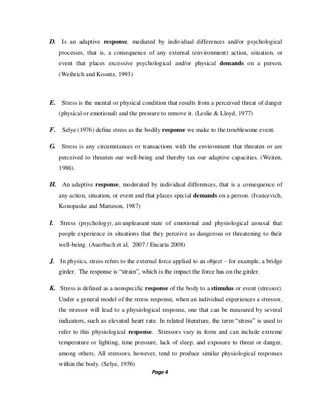 Stress management literature review
