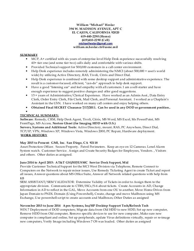 help desk job description resume