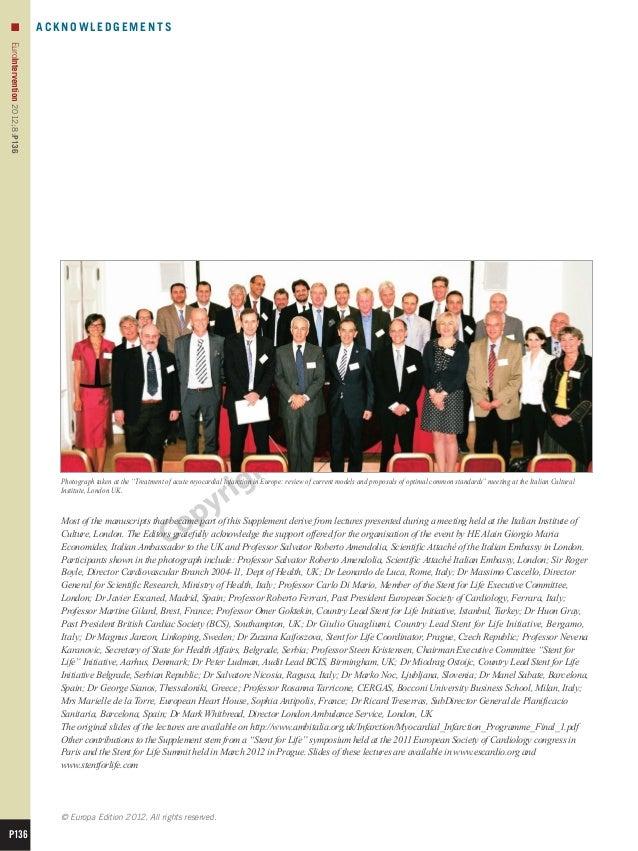 n                           ACKNOWLEDGEMENTSEuroIntervention 2012;8:P136                                 Photograph taken ...