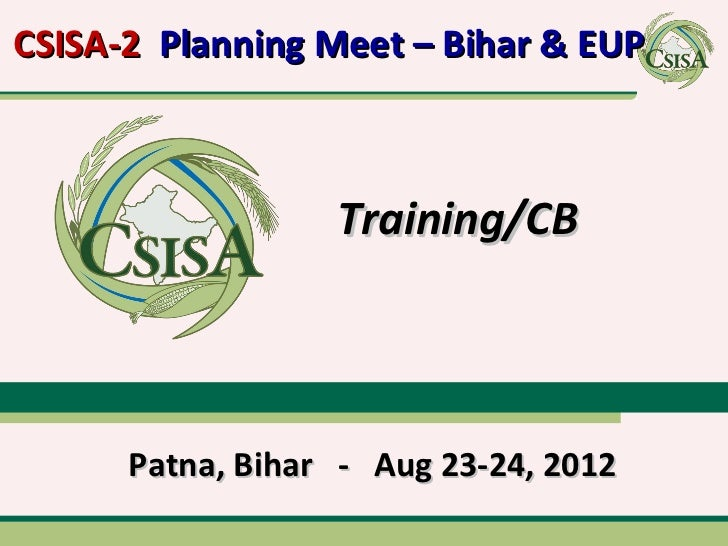 24 Aug 2012 - CSISA Bihar Planning Meeting - Training Plan