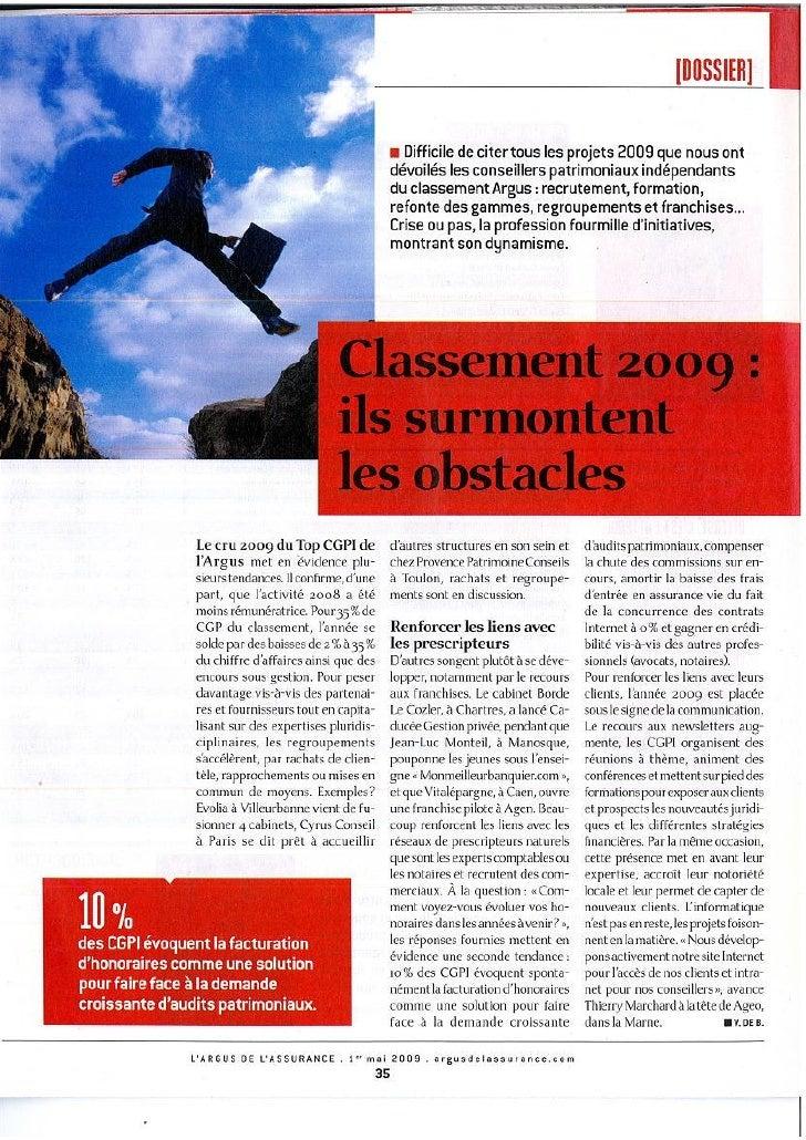 Argus assurance - Classement 2009 : ils surmontent les obstacles