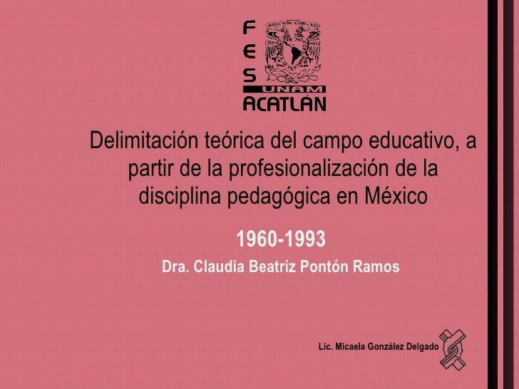 Delimitación teórica del campo educativo, a partir de la profesionalización de la disciplina pedagógica en México 1960-199...