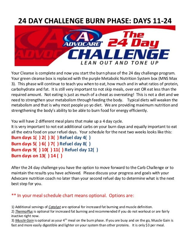 AdvoCare 24 Day Challenge: 14 Day Burn Phase
