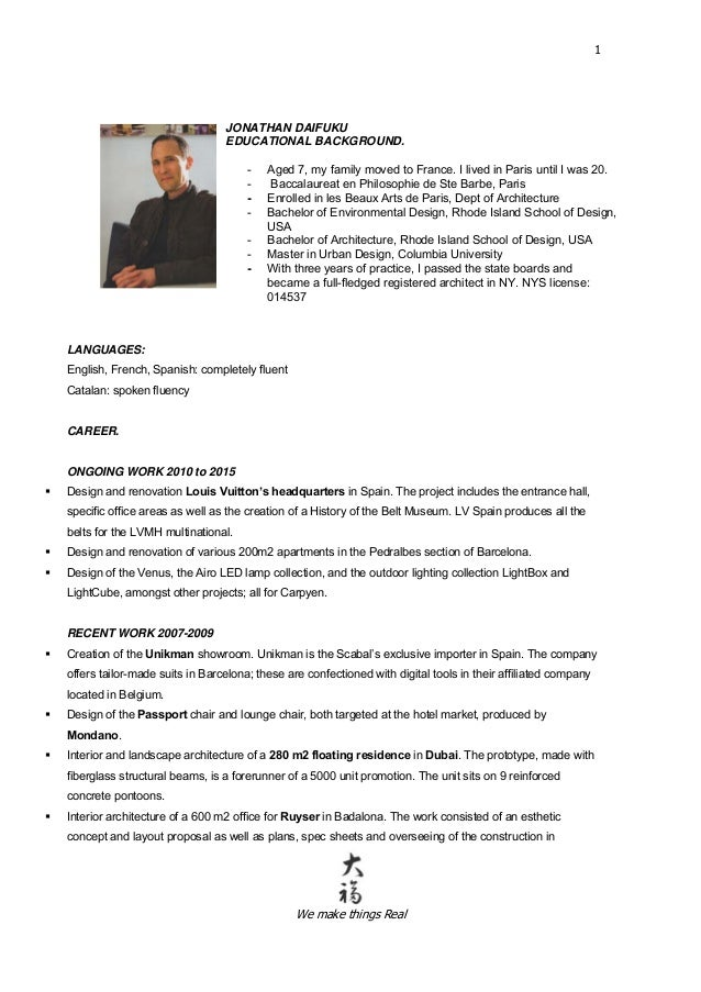 Fluent english french resume