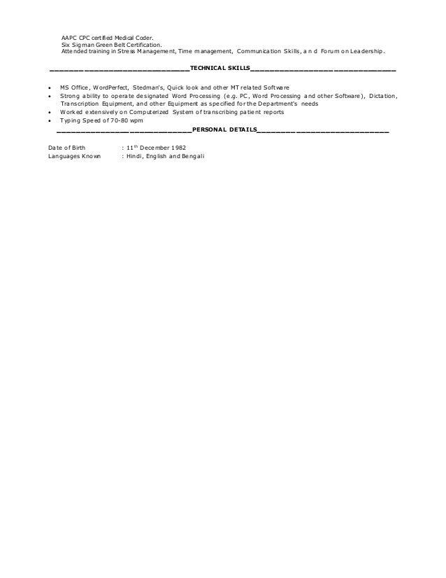 medical coding resume