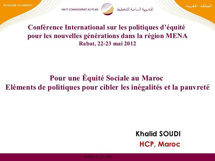 Pour une Équité Sociale au Maroc : Eléments de politiques pour cibler les inégalités et la pauvreté