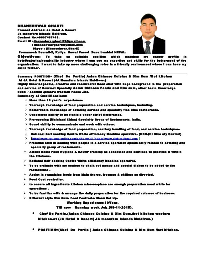 chef de partie resume sle 28 images 100 100 resume