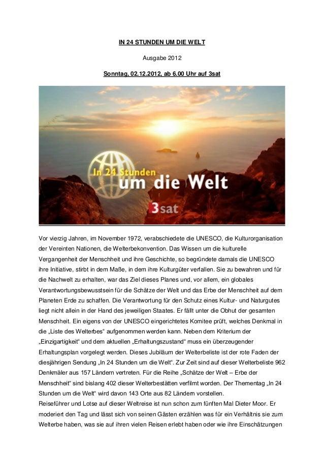 IN 24 STUNDEN UM DIE WELT                                        Ausgabe 2012                         Sonntag, 02.12.2012,...