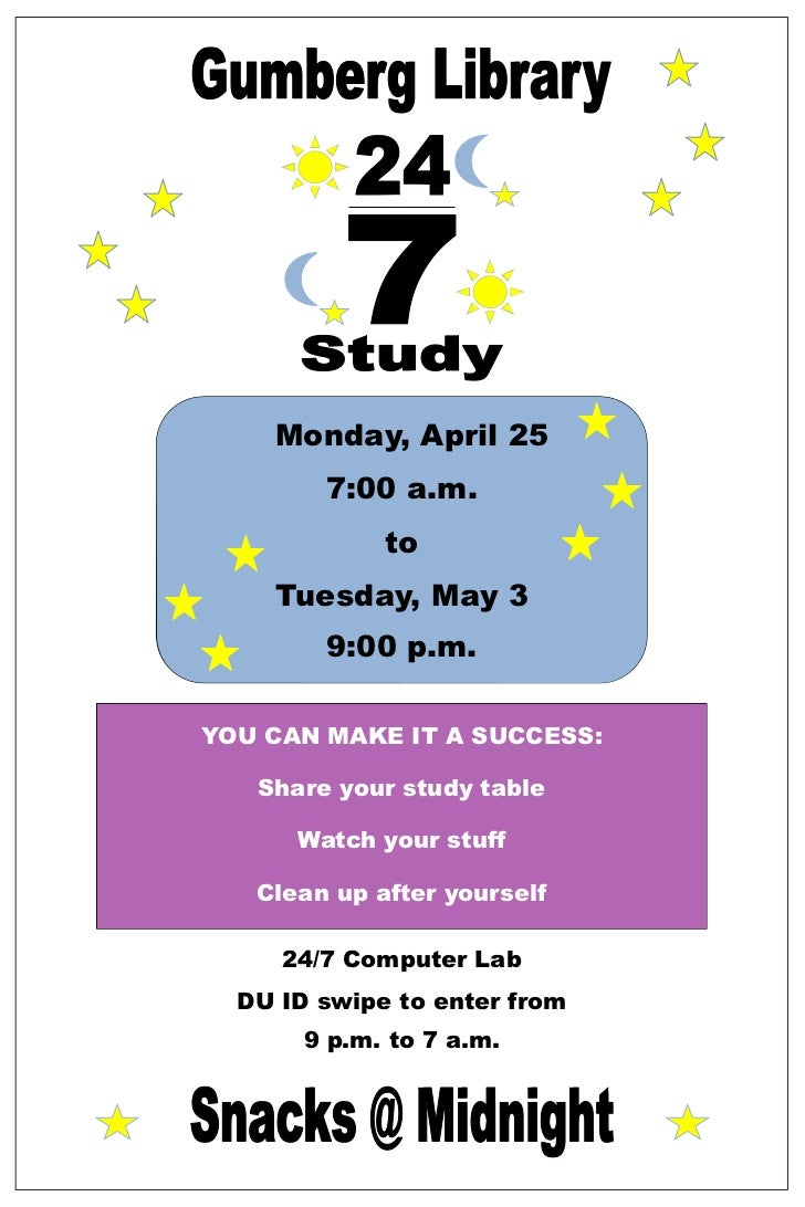 Monday, April 25        7:00 a.m.             to    Tuesday, May 3        9:00 p.m.YOU CAN MAKE IT A SUCCESS:   Share your...