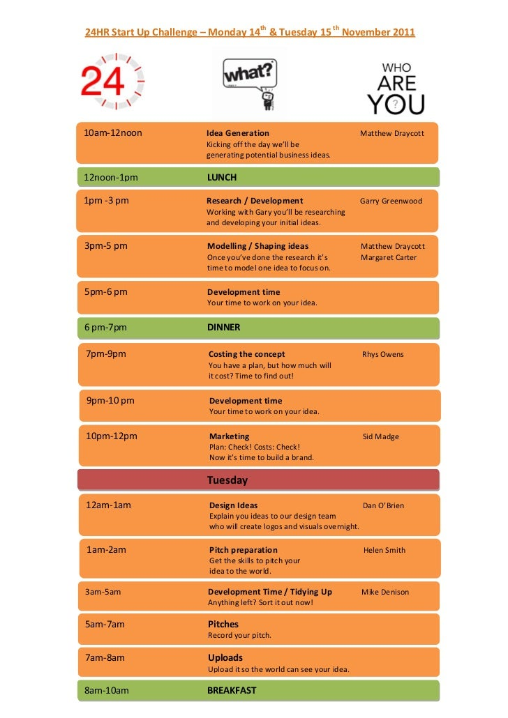 24HR Start Up Challenge – Monday 14th & Tuesday 15 th November 201110am-12noon             Idea Generation                ...