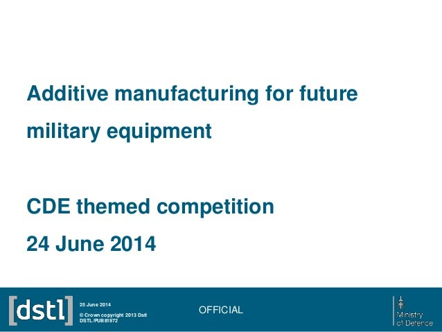OFFICIAL Additive manufacturing for future military equipment CDE themed competition 24 June 2014 © Crown copyright 2013 D...