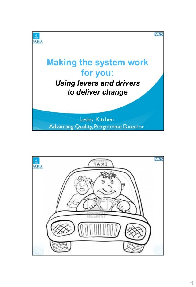 Breakout 2.4 Making the system work for you:Using levers and drivers to deliver change Lesley Kitchen