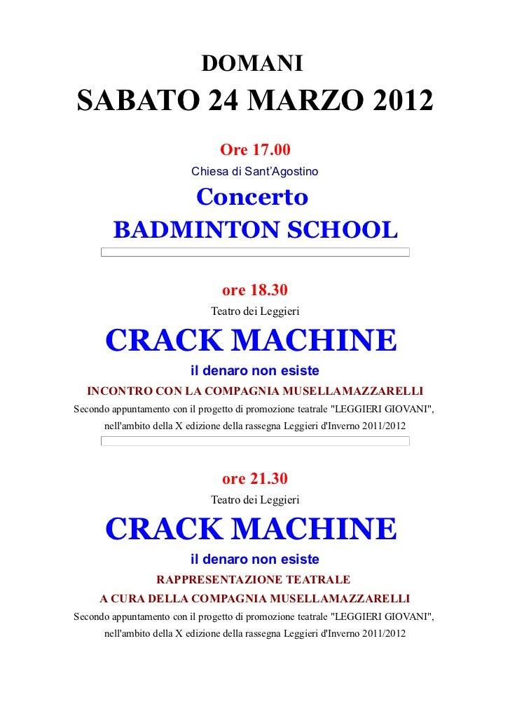 DOMANISABATO 24 MARZO 2012                                 Ore 17.00                          Chiesa di Sant'Agostino     ...