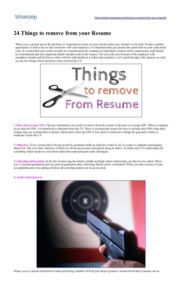 24 things to remove from your resume wisestep