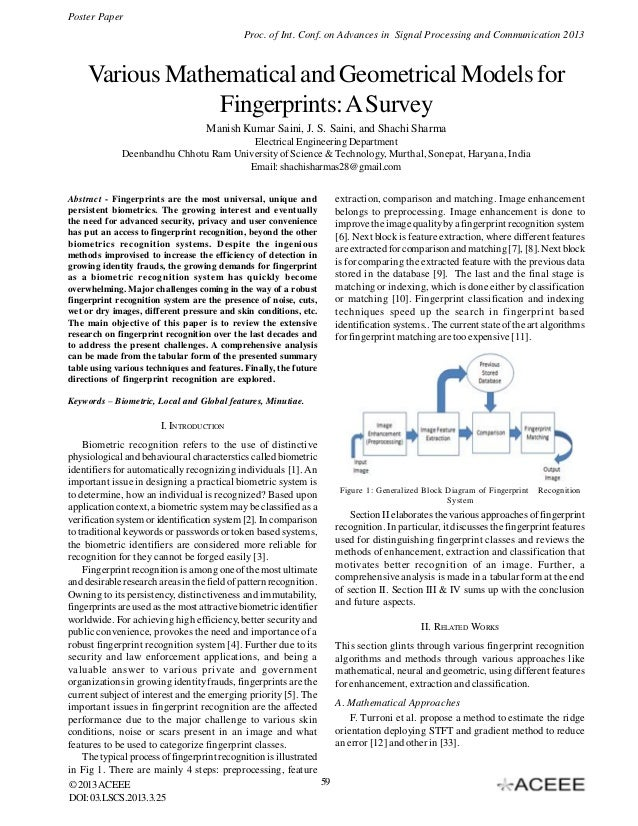 Various Mathematical and Geometrical Models for Fingerprints: A Survey