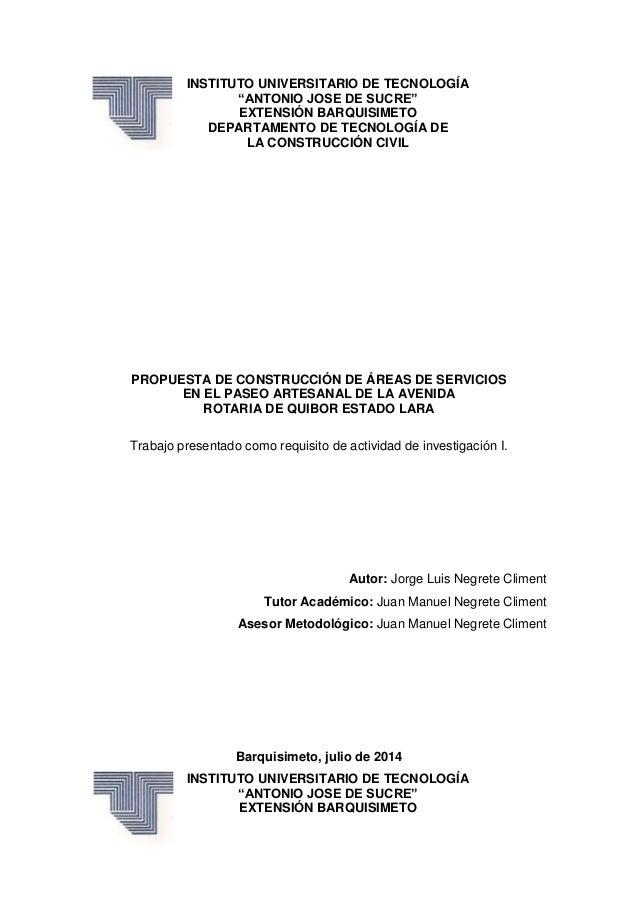 """INSTITUTO UNIVERSITARIO DE TECNOLOGÍA """"ANTONIO JOSE DE SUCRE"""" EXTENSIÓN BARQUISIMETO DEPARTAMENTO DE TECNOLOGÍA DE LA CONS..."""