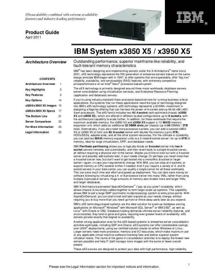 IBM System x3850 X5 / x3950 X5 Product Guide