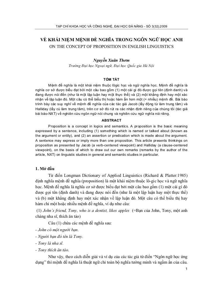 TẠP CHÍ KHOA HỌC VÀ CÔNG NGHỆ, ĐẠI HỌC ĐÀ NẴNG - SỐ 3(32).2009   VỀ KHÁI NIỆM MỆNH ĐỀ NGHĨA TRONG NGÔN NGỮ HỌC ANH        ...
