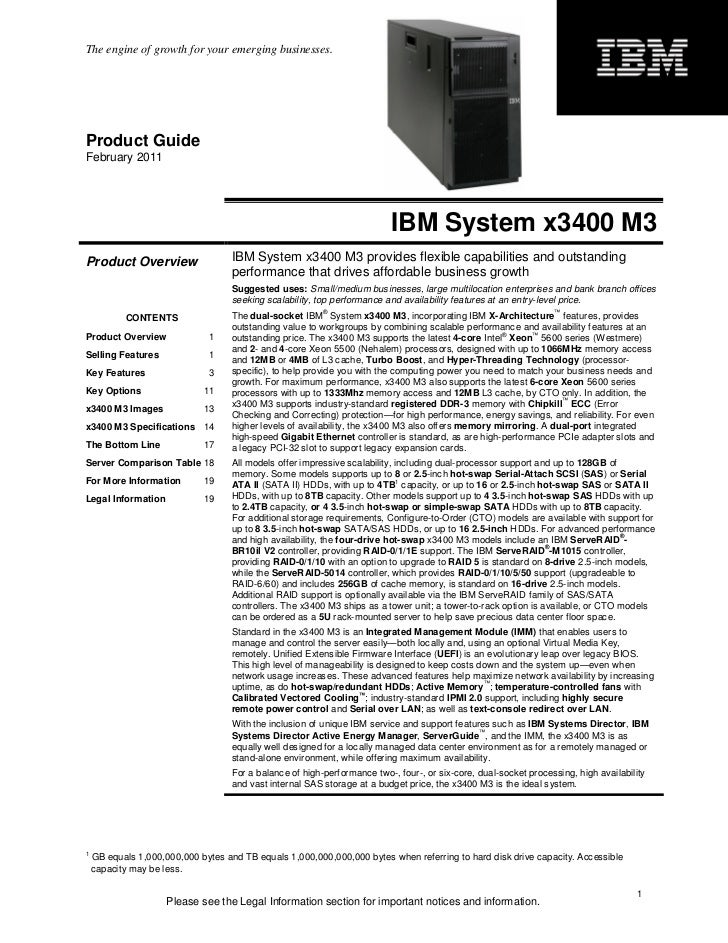 IBM System x3400 M3 Product Guide