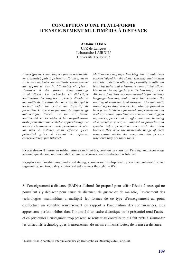 CONCEPTION D'UNE PLATE-FORME                D'ENSEIGNEMENT MULTIMÉDIA À DISTANCE                                          ...